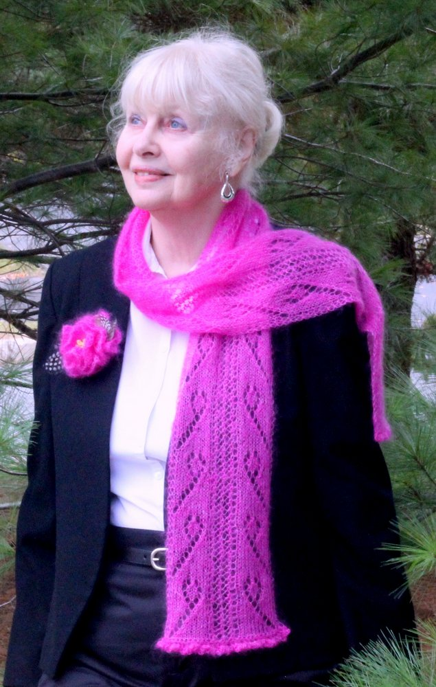 Sweet Pea Scarf and Matching Corsage title=